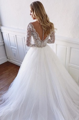 Long Sleeve Wedding Dresses Elegant | Vintage Fluffy Tulle Lace Bridal Gowns Cheap_2