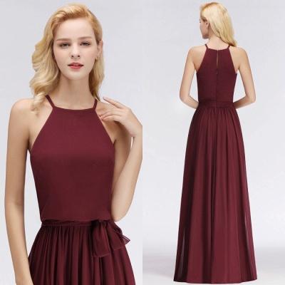 A-Line Chiffon Burgundy Simple Cheap Bridesmaid Dress_4