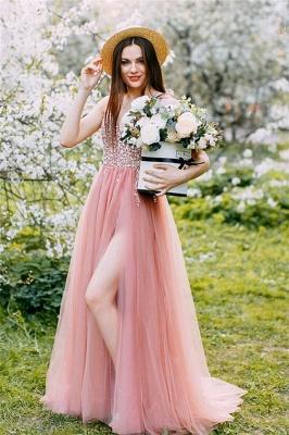 Wonderful Tulle Beading V-Neck Pink Evening Dress_1
