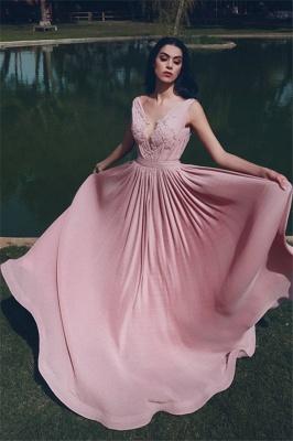 V-Neck Sleeveless Ruffles Appliques Long Evening Dress_1