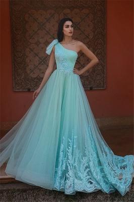 Exquisite One-Shoulder Appliques Long Evening Dress_1