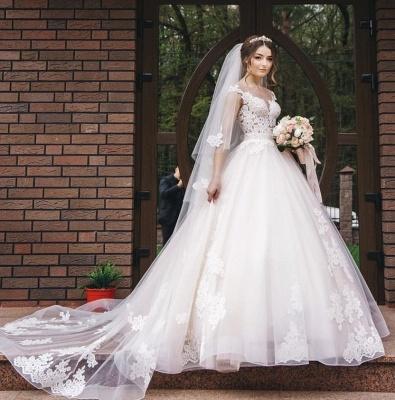 Elegant Lace V-Neck Appliques Sleeveless Wedding Dresses_7