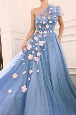 Tulle Chic Fleurs Une Epaule Robe De Soirée Longue_2