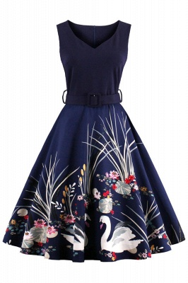 Alluring V-neck Belted Fashion Dresses | Knee-Length Women's Dresses