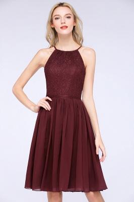 A-line Chiffon Lace Jewel Sleeveless Knee-Length Bridesmaid Dresses with Ruffles_5