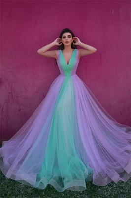 Stylish Tulle V-Neck Straps Evening Dress_1