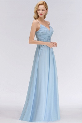 Chiffon V-Neck Spaghetti Straps Floor-Length Bridesmaid Dresses_4