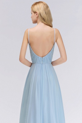 Chiffon V-Neck Spaghetti Straps Floor-Length Bridesmaid Dresses_6
