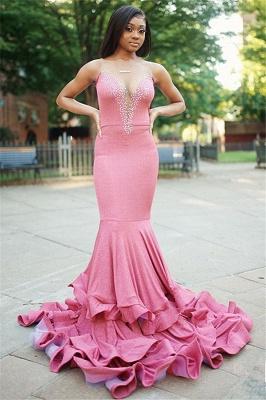 Sirène sexy sans manches perler longue robe de bal_1