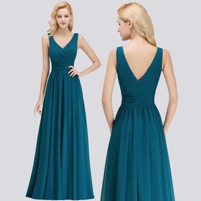 Sleeveless Chiffon Newest A-line Straps Floor-length Bridesmaid Dress_5