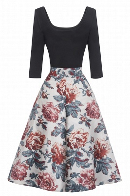 Gorgeous 3/4-Length-Sleeves Scoop Fashion Dresses | Floral Women's Dresses_3