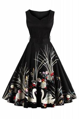 Alluring V-neck Belted Fashion Dresses | Knee-Length Women's Dresses_3