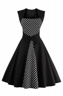 Amazing Polk-Dot Scoop Sleeveless A-line Pleats Fashion Dresses   Knee-Length Women's Dresses
