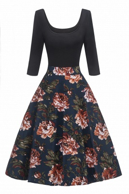 Attractive Scoop 3/4-Length-Sleeves Fashion Dresses   Floral Women's Dresses
