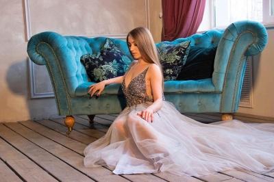 Bretelles baguettes robe de soirée longue en tulle sans manches_2