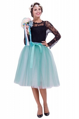 Glorious Tulle Knee-Length Ball-Gown Skirts | Elastic Bowknot Women's Skirts_7