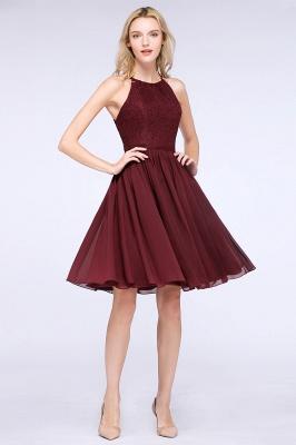 A-line Chiffon Lace Jewel Sleeveless Knee-Length Bridesmaid Dresses with Ruffles_3