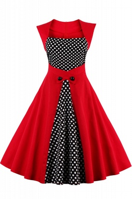 Amazing Polk-Dot Scoop Sleeveless A-line Pleats Fashion Dresses | Knee-Length Women's Dresses_1