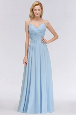 Chiffon V-Neck Spaghetti Straps Floor-Length Bridesmaid Dresses_1