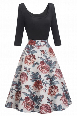 Gorgeous 3/4-Length-Sleeves Scoop Fashion Dresses | Floral Women's Dresses_2