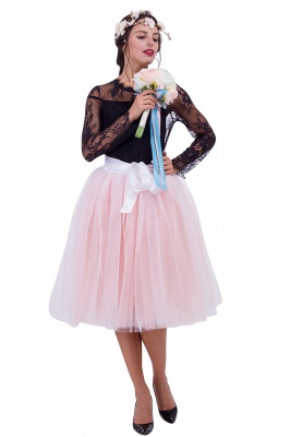 Glorious Tulle Knee-Length Ball-Gown Skirts | Elastic Bowknot Women's Skirts_1