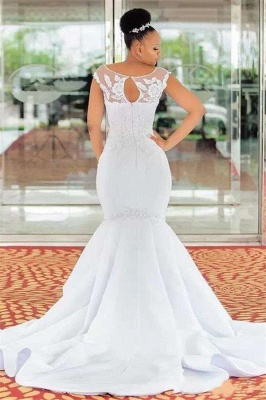 Mermaid Jewel Sleeveless Lace Appliques Wedding Dresses Cheap Online_2
