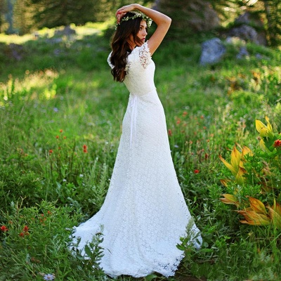 Elegant Lace Appliques Short Sleeve Sheath Wedding Dresses Cheap Online_4