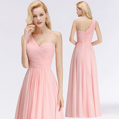 Pink One-Shoulder Modest Sleeveless Ruffled Zipper Floor-length Bridesmaid Dress_5