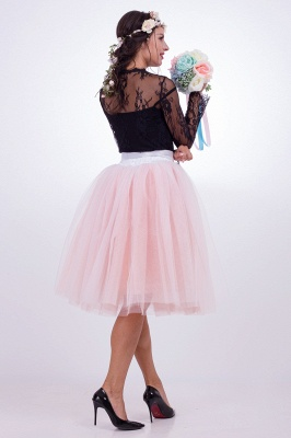 Glorious Tulle Knee-Length Ball-Gown Skirts | Elastic Bowknot Women's Skirts_9