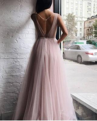 Tulle V-Neck Beading Long Evening Dress_3