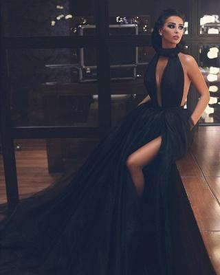 Sexy High-Neck Sleeveless Ball Gown Evening Dress_2