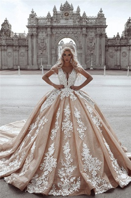 Sexy Deep V-Neck Ball Gown Wedding Dresses | Sleeveless Appliques Bridal Gowns Cheap_1