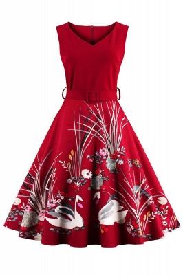 Alluring V-neck Belted Fashion Dresses | Knee-Length Women's Dresses_1