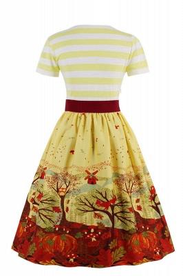 Excellent V-neck Stripes A-line Short-Sleeves Fashion Dresses | Bow Belted Women's dresses_5