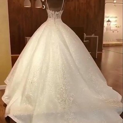 Luxury Ball Gowns Wedding Dresses Cheap | Sexy Spaghetti Straps Lace Bridal Gowns_2
