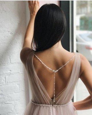 Tulle V-Neck Beading Long Evening Dress_2