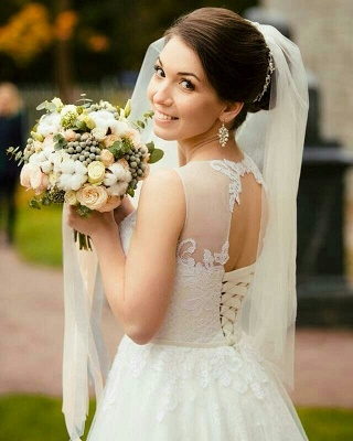 Sexy Sleeveless Tulle Lace Long Wedding Dresses Cheap Online_2