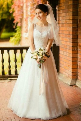Jewel Sleeveless Tulle Lace Long Wedding Dress