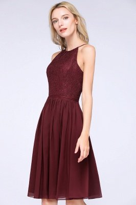 A-line Chiffon Lace Jewel Sleeveless Knee-Length Bridesmaid Dresses with Ruffles_6