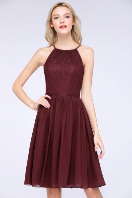 A-line Chiffon Lace Jewel Sleeveless Knee-Length Bridesmaid Dresses with Ruffles_5
