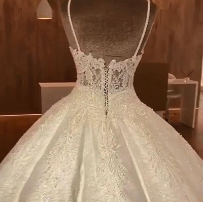 Luxury Ball Gowns Wedding Dresses Cheap | Sexy Spaghetti Straps Lace Bridal Gowns_3