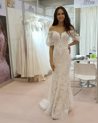 Tulle Lace Strapless Sweetheart Short-Sleeves Long Wedding Dress