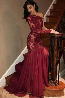 Sexy Tulle Lace One-Shoulder Long Sleeve Burgundy Evening Dress