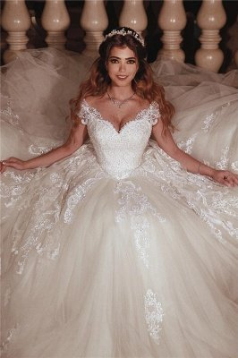 Tulle Lace Cap Sleeves Sweetheart Ball Gowns Wedding Dresses Cheap_1