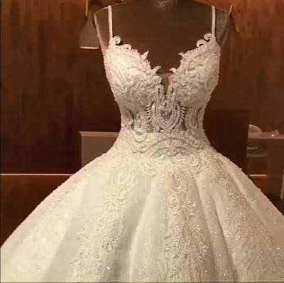 Luxury Ball Gowns Wedding Dresses Cheap | Sexy Spaghetti Straps Lace Bridal Gowns_4