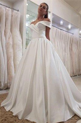 Simple Off The Shoulder Sweetheart Sleeveless Ruffles Cheap Satin Wedding Dresses_1