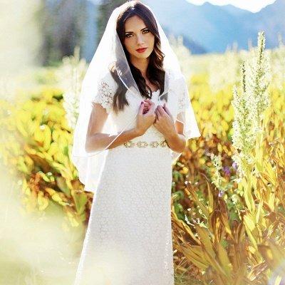 Elegant Lace Appliques Short Sleeve Sheath Wedding Dresses Cheap Online_3