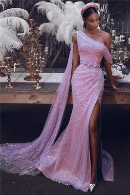 Sparkly One-Shoulder Slit Sequins Evening Dress_1