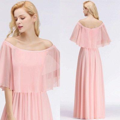 Off-the-Shoulder Pink Chiffon Cheap Bridesmaid Dresses_3