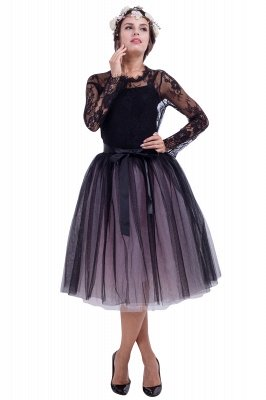 Glorious Tulle Knee-Length Ball-Gown Skirts | Elastic Bowknot Women's Skirts_3